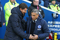 Football - 2018 / 2019 Premier League - Brighton and Hove Albion vs. Watford<br /> <br /> Brighton Manager Chris Hughton greets Watford Head Coach Javi Gracia before kick off at The Amex Stadium Brighton <br /> <br /> COLORSPORT/SHAUN BOGGUST