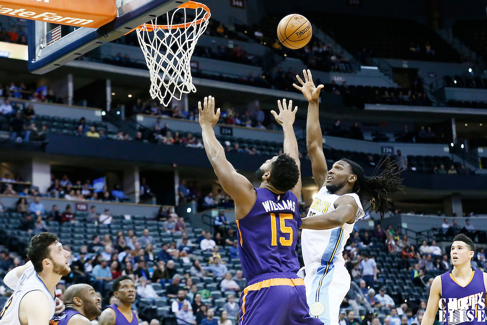 16 November 2016: Denver Nuggets forward Kenneth Faried (35) goes for the baby hook over Phoenix Suns forward Alan Williams (15) during the Denver Nuggets 120-104 victory over the Phoenix Suns, at the Pepsi Center, Denver, Colorado, USA.