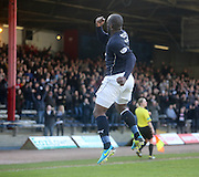 Christian Nade celebrates after opening the scoring - Dundee v Greenock Morton, SPFL Championship at <br /> Dens Park<br /> <br />  - &copy; David Young - www.davidyoungphoto.co.uk - email: davidyoungphoto@gmail.com