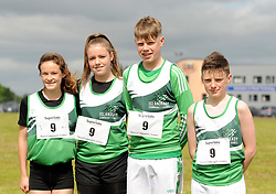 Gold medalists Islandeady U15 mixed relay team Roisin O&rsquo;Brien Evelyn Ward, Brian O&rsquo;Flaherty and Liam Coyne at Mayo Community Games.<br /> Pic Conor McKeown