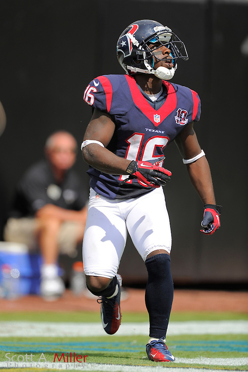 Houston Texans wide receiver Trindon Holliday (16) during the NFL game between the Texans and the Jacksonville Jaguars, at EverBank Field on September 16, 2012 in Jacksonville, Florida. The Texans won 27-7...©2012 Scott A. Miller.