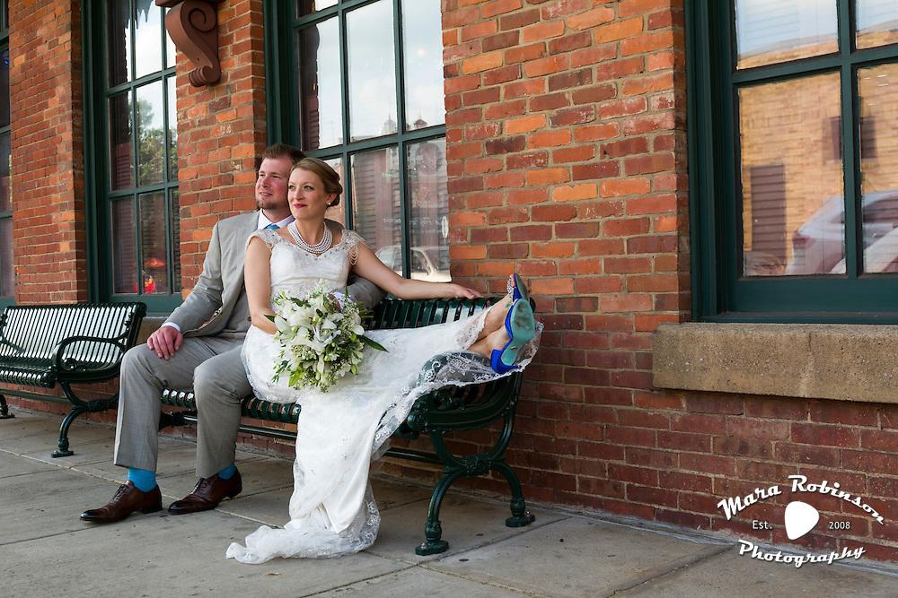 bride and groom in downtown Kent, Ohio by Tallmadge wedding photographer, Akron wedding photographer Mara Robinson Photography