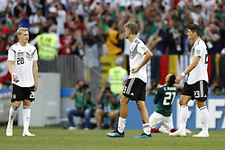 (l-r) Julian Brandt of Germany, Thomas Muller of Germany, Mario Gomez of Germany during the 2018 FIFA World Cup Russia group F match between Germany and Mexico at the Luzhniki Stadium on June 17, 2018 in Moscow, Russia