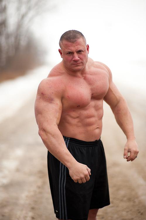 DETROIT - DECEMBER 30: Portrait shoot of Body Builder Matt Kroczaleski for Muscle & Fitness magazine on December 30, 2010 in Detroit, Michigan. (Photo By: Rob Tringali) *** Local Caption *** Matt Kroczaleski
