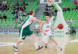 Bojan Krivec of Krka vs Jan Mocnik of Union Olimpija during basketball match between KK Union Olimpija and KK Krka in 4th Final match of Telemach Slovenian Champion League 2011/12, on May 24, 2012 in Arena Stozice, Ljubljana, Slovenia.  (Photo by Vid Ponikvar / Sportida.com)