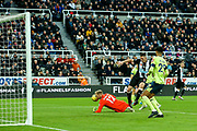 Paul Dummett (#3) of Newcastle United scores Newcastle United's second goal (2-1) during the Premier League match between Newcastle United and Bournemouth at St. James's Park, Newcastle, England on 9 November 2019.