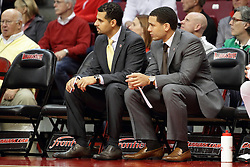 16 November 2015: Assistant coaches Dean Oliver and Jeremy Ballard. Illinois State Redbirds host the Morehead State Eagles at Redbird Arena in Normal Illinois (Photo by Alan Look)
