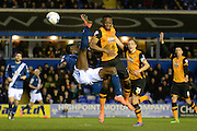 Birmingham City striker Clayton Donaldson attempts an overhead kick 1-0 during the Sky Bet Championship match between Birmingham City and Hull City at St Andrews, Birmingham, England on 3 March 2016. Photo by Alan Franklin.