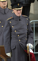 The Duke of Edinburgh at the Menin Gate in Ypres, Belgium, at a ceremony on Armistice Day to mark the gathering of soil for the Flanders Fields Memorial Garden at the Guards Museum in London, United Kingdom. Monday, 11th November 2013. Picture by i-Images