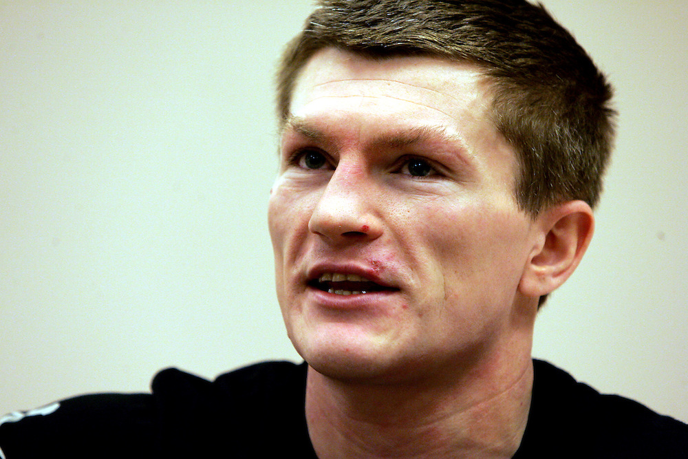 Ricky Hatton discusses tactics with HBO on the morning of the fight. Ricky Hatton v Floyd Mayweather, Las Vegas, Nevada.