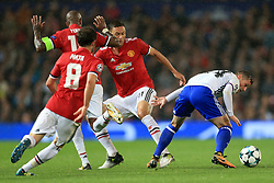 12th September 2017 - UEFA Champions League - Group A - Manchester United v FC Basel - Taulant Xhaka of Basel battles with Nemanja Matic of Man Utd - Photo: Simon Stacpoole / Offside.