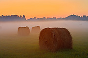 Bales and fog at twilight<br /> Near Espanola<br /> Ontario<br /> Canada