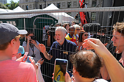 © Licensed to London News Pictures. 30/06/2018. London, UK. Labour Leader JEREMY CORBYN speaks to protestors on Whitehall in support of the National Health Service on the 70th anniversary of its founding. Thousands are taking part and will here speeches by Jeremy Corbyn and others in Whitehall. Photo credit: Rob Pinney/LNP
