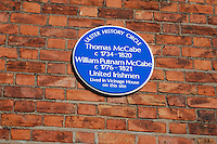 Ulster History Circle Blue Plaque for Thomas McCabe, 1734 to 1820, and William Putnam McCabe, 1776 to 1821, United Irishmen, who lived in Vicinage House on the site today of St Malachy's College, Belfast, N Ireland, UK, 200903312062.<br />
