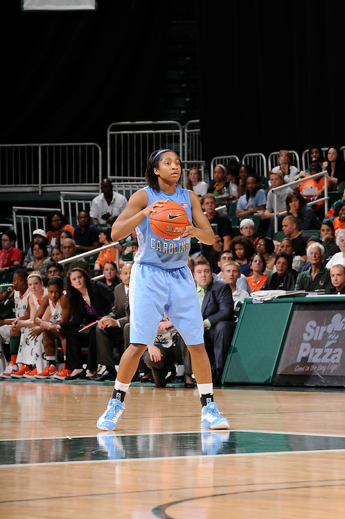 February 8, 2012: Danielle Butts #10 of North Carolina in action during the NCAA basketball game between the Miami Hurricanes and the North Carolina Tar Heels at the Bank United Center in Coral Gables, FL. The Hurricanes defeated the Tar Heels 61-37.