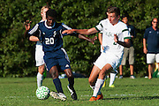 Rice's Brent McKeown (2) battles for the ball with Burlington's Julian Segar-Reed (20) during the boys soccer game between the The Burlington Seahorses and the Rice Green Knights at Rice Memorial high School on Tuesday afternoon September 15, 2015 in South Burlington, Vermont. (BRIAN JENKINS/for the FREE PRESS)