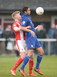 BARROW BYRON HARRISON HOLDS OF BRACKLEYS MATT LOWE, Brackley Town FC v Barrow AFC, Buildbase FA Trophy Saturday 13th January 2018, SCORE 0-0, Photo:Mike Capps/Kappa Sport Pictures