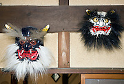 Photo shows Kuro-oni (black ogre) and Japanese Ogre, two of the Iwami-Kagura masks created by Briton Jake Davies at his home in Sakurae Village, Shimane Prefecture, Japan on 28 June 2011..Photographer: Robert Gilhooly