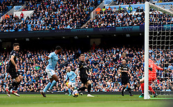 Manchester City's Raheem Sterling scores his side's second goal of the game during the Premier League match at the Etihad Stadium, Manchester.