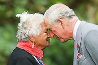 PRINCE CHARLES IS GREETED WITH A HONGI, NEW PLYMOUTH