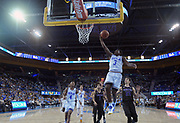 Nov 15, 2017; Los Angeles, CA, USA; UCLA Bruins guard Aaron Holiday (3) shoots the ball against the Central Arkansas Bears during a NCAA basketball at Pauley Pavilion. UCLA defeated Central Arkansas 106-101 in overtime.