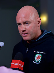 CARDIFF, WALES - Thursday, September 28, 2017: Wales' Under-21 manager Robert Page during a press conference at the Vale Resort to announce his squad for the forthcoming UEFA Under-21 Championship qualifying Group 8 game against Liechtenstein. (Pic by David Rawcliffe/Propaganda)