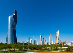 Daytime skyline of downtown Kuwait City from Al Shaheed Park in Kuwait, Middle East