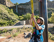 Zip lining with water fall in the Snake River Canyon with Zip the Snake in Twin Falls, Idaho. MR
