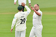 Wicket - Joe Leach of Worcestershire celebrates taking the wicket of Sam Northeast of Hampshire during the Specsavers County Champ Div 1 match between Hampshire County Cricket Club and Worcestershire County Cricket Club at the Ageas Bowl, Southampton, United Kingdom on 13 April 2018. Picture by Graham Hunt.