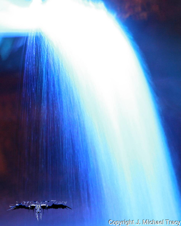 Waterfall as seen through blue light.