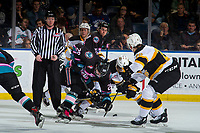 KELOWNA, CANADA - NOVEMBER 3:  Nolan Foote #29 of the Kelowna Rockets digs for the puck with Caiden Daley #11 of the Brandon Wheat Kings on November 3, 2018 at Prospera Place in Kelowna, British Columbia, Canada.  (Photo by Marissa Baecker/Shoot the Breeze)