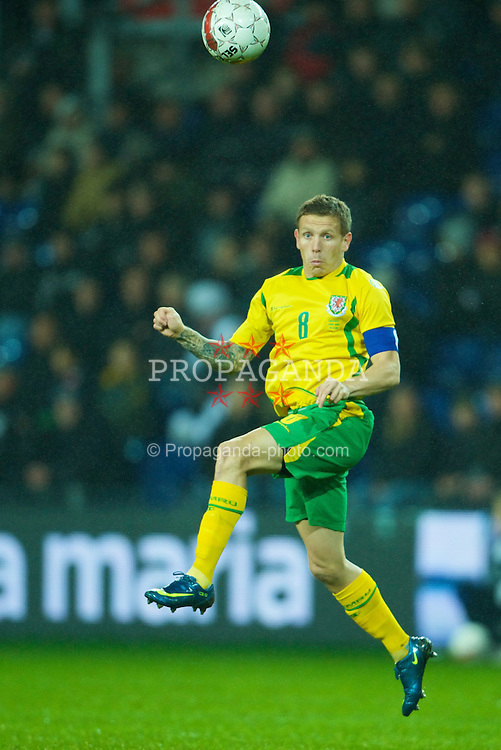 COPENHAGEN, DENMARK - Wednesday, November 19, 2008: Wales' captain Craig Bellamy in action against Denmark during the international friendly match at the Brøndby Stadium. (Photo by David Rawcliffe/Propaganda)
