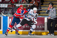 KELOWNA, CANADA - FEBRUARY 5: Jacob Cardiff #19 of Spokane Chiefs checks Lucas Johansen #7 of Kelowna Rockets on February 5, 2016 at Prospera Place in Kelowna, British Columbia, Canada.  (Photo by Marissa Baecker/Shoot the Breeze)  *** Local Caption *** Jacob Cardiff; Lucas Johansen;