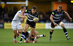Max Clark of Bath Rugby takes on the Exeter Chiefs defence - Mandatory byline: Patrick Khachfe/JMP - 07966 386802 - 10/10/2015 - RUGBY UNION - The Recreation Ground - Bath, England - Bath Rugby v Exeter Chiefs - West Country Challenge Cup.
