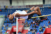 Mutaz Essa Barshim (QAT) wins the high jump at 7-9 3/4 (2.38m) during the 57th Ostrava Golden Spike track and field meeting in a IAAF World Challenge event at Mestsky Stadium in Ostrava, Czech Republic, Wednesday, June 13, 2018. (Jiro Mochizuki/Image of Sport)