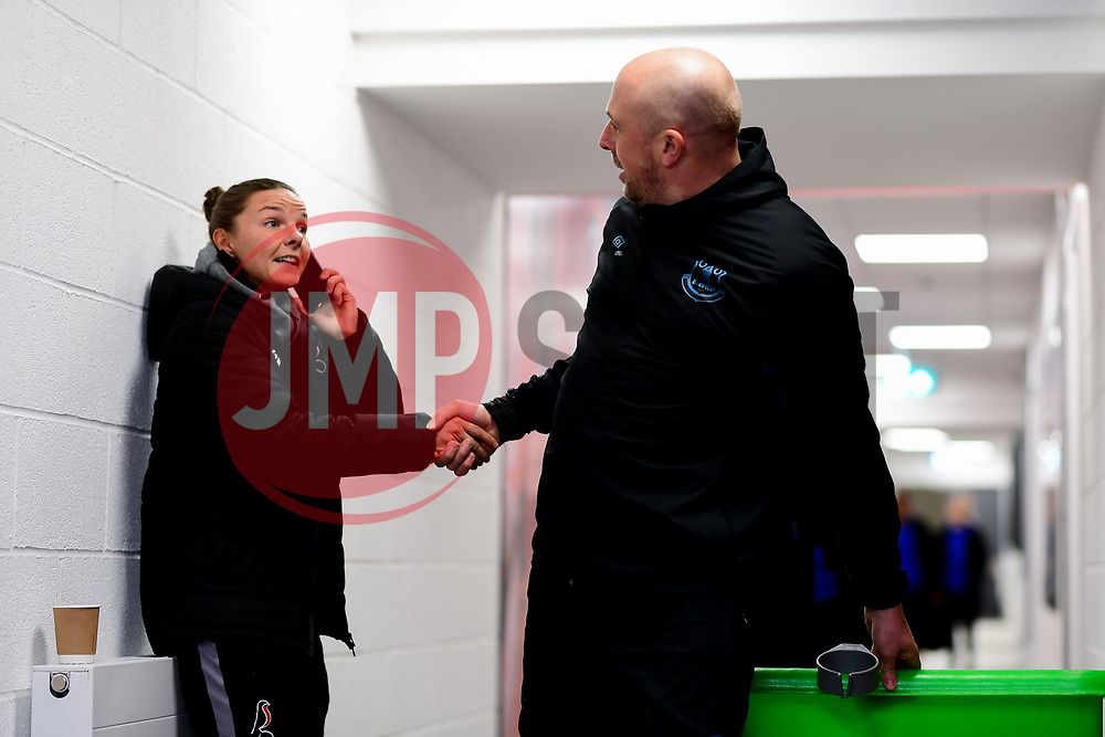 Loren Dykes of Bristol City shakes hands with Neil Moore  - Mandatory by-line: Ryan Hiscott/JMP - 17/02/2020 - FOOTBALL - Stoke Gifford Stadium - Bristol, England - Bristol City Women v Everton Women - Women's FA Cup fifth round