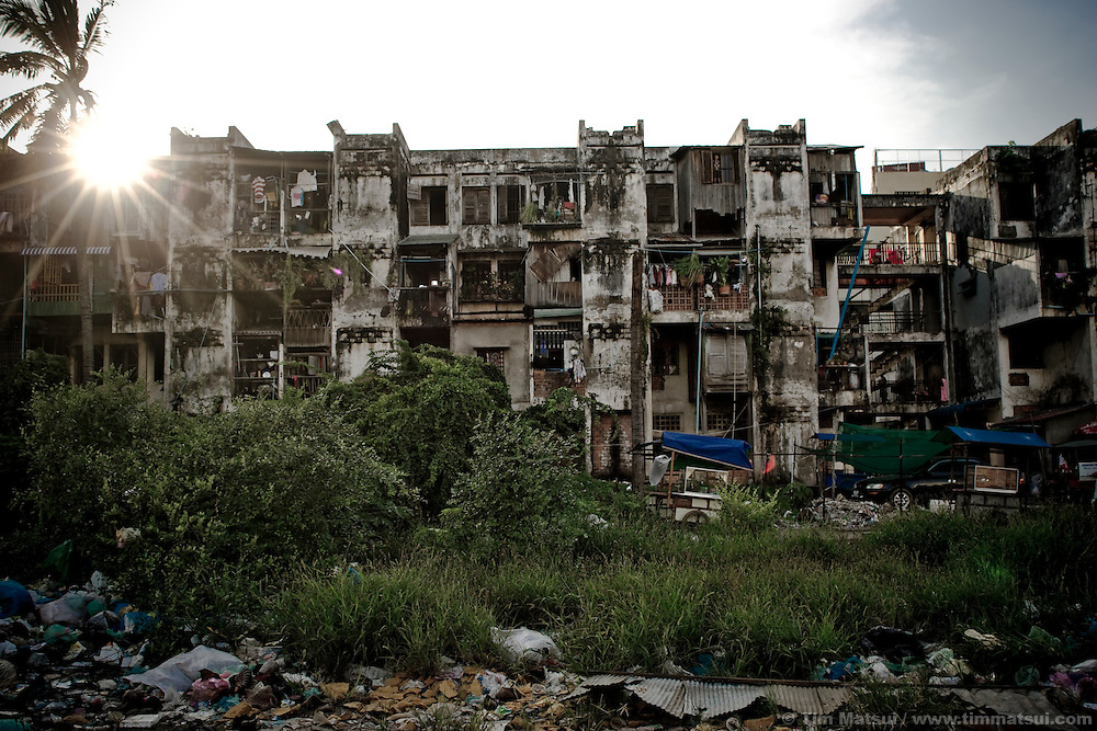 A slum building in downtown Phnom Penh, Cambodia, where drugs and prostitution are rampant. Human trafficking survivor Srey Neth was sold here, by her mother, at age 14 to a pimp who later sold Neth's virginity for $300.