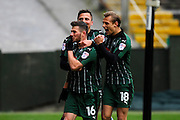 Matty Kennedy 16) of Plymouth Argyle celebrates scores a goal to give a 1-0 lead to the home team with Antoni Sarcevic (7) of Plymouth Argyle and Oscar Threlkeld (18) of Plymouth Argyle during the EFL Sky Bet League 2 match between Plymouth Argyle and Exeter City at Home Park, Plymouth, England on 11 February 2017. Photo by Graham Hunt.