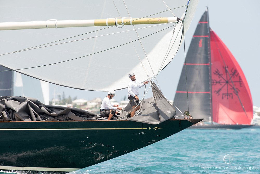 The Great Sound, Bermuda, 17th June America's Cup J Class parade. Shamrock V (JK3) and Svea. (JS1)