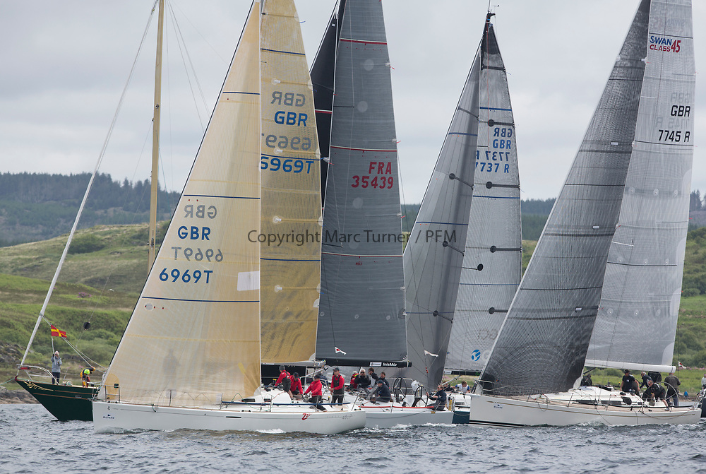 Silvers Marine Scottish Series 2017<br /> Tarbert Loch Fyne - Sailing Day 3<br /> <br /> Class one start with GBR6969T, Grand Cru, Steve Cowie, RGYC, First 40.7 and GBR7745R, Eala of Rhu, J McGarry / C Moore, RNCYC, Swan 45.
