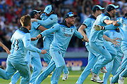 England Are World Champions - Jonny Bairstow of England celebrates after Martin Guptill of New Zealand is run out in the super over and England win the World Cup during the ICC Cricket World Cup 2019 Final match between New Zealand and England at Lord's Cricket Ground, St John's Wood, United Kingdom on 14 July 2019.