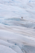 A lone hiker lends a sense of scale to the surface of the Perito Moreno Glacier. The glacier is a popular hiking destination in Los Glaciares National Park, Argentina.