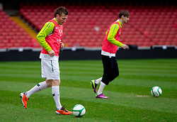 Matej Mavric Rozic and Milivoje Novakovic during practice session of Slovenia National football team One day before EURO 2012 Quaifications game between National teams of Slovenia and Northern Ireland, on March 28, 2011, in Windsor Park Stadium, Belfast, Northern Ireland, United Kingdom. (Photo by Vid Ponikvar / Sportida)