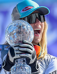 14.03.2019, Soldeu, AND, FIS Weltcup Ski Alpin, SuperG, Damen, Siegerehrung, Weltcupwertung, im Bild Mikaela Shiffrin (USA, Siegerin Slalom, Riesenslalom, Super G und Gesamteltcup) // Winner of the Slalom Giant Slalom Super G and Overal World Cup Mikaela Shiffrin of USA after the winner ceremony for the men's Super-G Worldcup rating of FIS Ski Alpine World Cup finals.Soldeu, Andorra on 2019/03/14. EXPA Pictures © 2019, PhotoCredit: EXPA/ Erich Spiess
