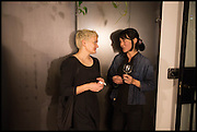 SARAH HOPKINSON; RENEE SO; , Frieze party, ACE hotel Shoreditch. London. 18 October 2014