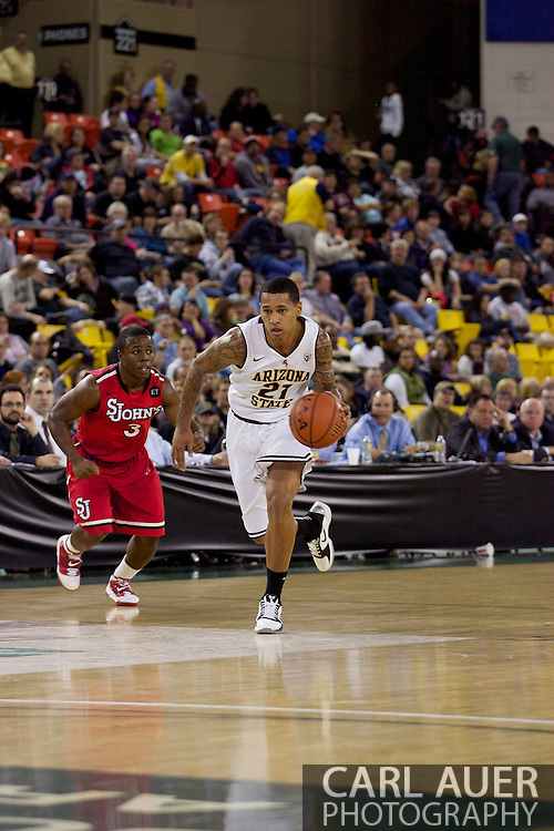 November 27th, 2010:  Anchorage, Alaska - Arizona State's Keala King (21) runs the ball up court in the Sun Devil's 58-67 loss to St. Johns in the championship game of the Great Alaska Shootout.
