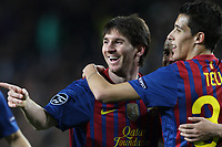 07.03.2012 Barcelona, Spain. Barcelona v Bayern Leverkusen. Lionel Messi celebrates scoring his 5th goal with team-mate Tello during the Champions League 2nd leg game played at the Nou Camp.