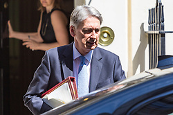 London, July 5th 2017. Chancellor Philip Hammond leaves 11 Downing Street in Westminster to attend Prime Minister's Question Time in the House of Commons.