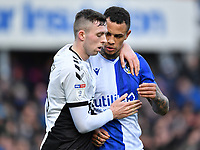 Football - 2019 / 2020 Emirates FA Cup - Third Round: Bristol Rovers vs. Coventry City<br /> <br /> Coventry City's Jordan Shipley with Bristol Rovers' Jonson Clarke-Harris, at the Memorial Stadium.<br /> <br /> COLORSPORT/ASHLEY WESTERN
