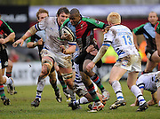 Twickenham, GREAT BRITAIN, Quins, Ugo MOYNE goes, runs between left Peter SHORT and right Alex CROCKETT, with scrum half, Michael CLAASSENS hanging on to MOYNE,  during the Guinness Premiership match, Harlequins vs Bath Rugby at the Twickenham Stoop.  Sun. 16th Feb 2008. 16.03.2008.  [Mandatory Credit, Peter Spurrier/Intersport-images]
